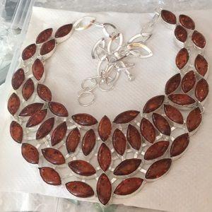 "Jewelry - NWOT Glowing Amber 925 22"" Necklace Beautiful"